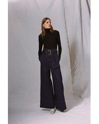 TOPSHOP Blue Belted Paperbag Jeans By Boutique