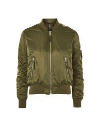 TOPSHOP - Green Bomber Jacket - Lyst