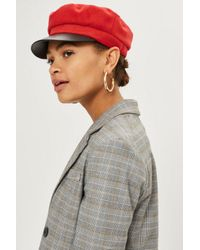 558c1183f9f85 Lyst - TOPSHOP Contrast Baker Boy Hat in Red