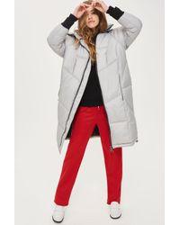 TOPSHOP - Gray Long Puffer Jacket - Lyst
