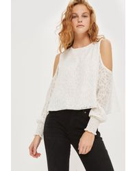 Love - White Lace Cold Shoulder Blouse By - Lyst