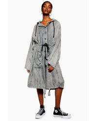 TOPSHOP Black oversized Hooded Parka By Boutique