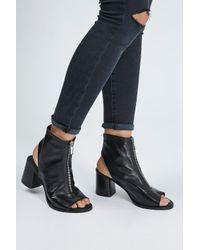 TOPSHOP | Black Nappa Zip Front Sandals | Lyst