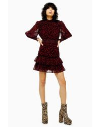 TOPSHOP Tall Red Star Ruffle Shirred Mini Dress