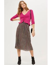 TOPSHOP - Pink Ruched Front Frill Knitted Top - Lyst