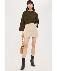 ba48c1dfea TOPSHOP Corduroy Skirt in Natural - Lyst