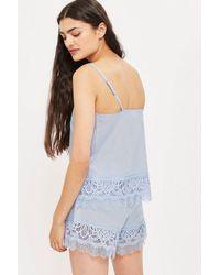 TOPSHOP - Blue Premium Cotton And Lace Shorts - Lyst