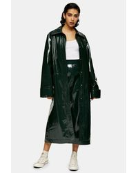 TOPSHOP Green Vinyl Leather Parka By Boutique