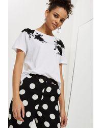 TOPSHOP White Petite Floral Applique T-shirt