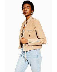 TOPSHOP Natural Tan Suede Jacket