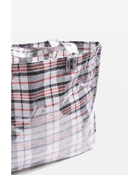TOPSHOP - Black Marty Check Unlined Tote Bag - Lyst