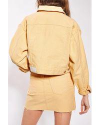 TOPSHOP Yellow Moto Denim Crop Jacket