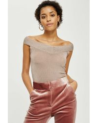 TOPSHOP - Multicolor Petite Off The Shoulder Sweater - Lyst