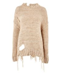 TOPSHOP - Natural Laddered Knittedjumper By Boutique - Lyst