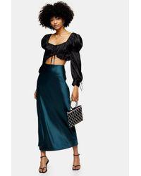 TOPSHOP Blue Teal Satin Bias Maxi Skirt