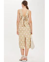 TOPSHOP - Natural Polka Dot Tie Back Dress - Lyst