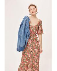 TOPSHOP - Pink Floral Maxi Tea Dress - Lyst