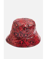 TOPSHOP Red Snake Bucket Hat