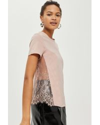 TOPSHOP - Pink Lace Side T-shirt - Lyst