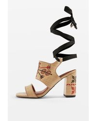 TOPSHOP Natural Roxanne Embroidered Sandals