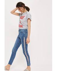 TOPSHOP Moto Mid Blue Side Lace Jamie Jeans