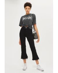 TOPSHOP - Gray Acdc Knot Crop Tee - Lyst