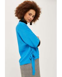 TOPSHOP - Blue Tie Side T-shirt - Lyst