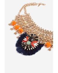 TOPSHOP - Blue Mega Tassel Collar Necklace - Lyst