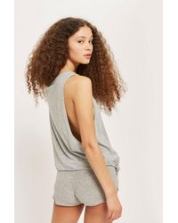 CALVIN KLEIN 205W39NYC Gray Side Knot Tank Top By