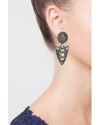 TOPSHOP - Brown Rhinestone Shield Drop Earrings - Lyst