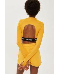 TOPSHOP - Orange Long Sleve Logo Tape Crop Top By Ivy Park - Lyst