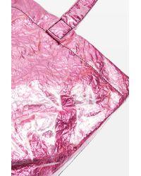 TOPSHOP - Pink Sally Metallic Shopper Bag - Lyst