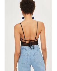 TOPSHOP - Black Floral Embroidered Bodysuit - Lyst