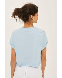 TOPSHOP | Blue Petite Crop Roll Back T-shirt | Lyst