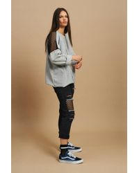 The Ragged Priest - Blue Mesh Insert Jeans By - Lyst