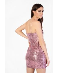 Glamorous Pink Lace Up Sequin Dress By