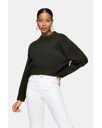 TOPSHOP Black Super Cropped Knitted Sweatshirt
