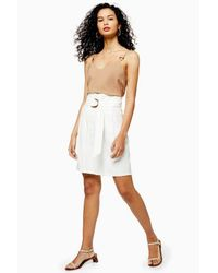TOPSHOP White Belted City Shorts