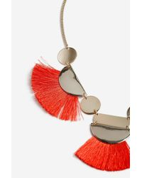 TOPSHOP - Orange Tassel And Shape Collar Necklace - Lyst