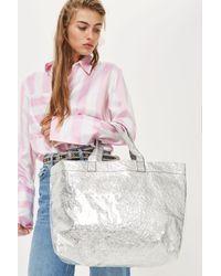 TOPSHOP - Sally Metallic Shopper Bag - Lyst