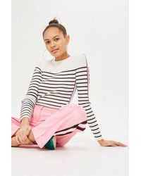 TOPSHOP - Multicolor Side Striped Sleeve Detail Knitted Top - Lyst