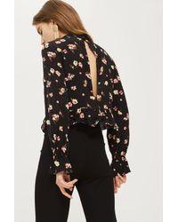 TOPSHOP Black Floral Print High Neck Peplum Blouse