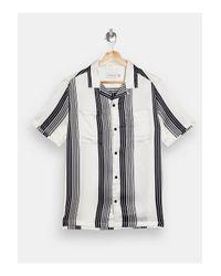 Topman Black Monogram Satin Stripe Shirt