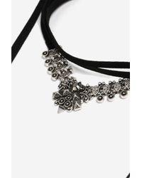 TOPSHOP - Black Tie Up Choker Necklace - Lyst