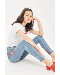 TOPSHOP Blue Moto Rose Embroidered Jamie Jeans