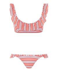 TOPSHOP Pink Stripe Frill Bikini Bottoms