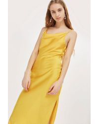 TOPSHOP - Yellow Cowl Neck Slip Dress - Lyst