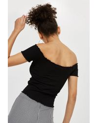 TOPSHOP Black Off Shoulder Lettuce T-shirt