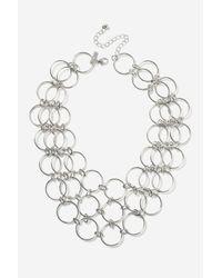 TOPSHOP - Metallic Circle Link Collar Necklaces - Lyst