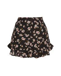 Glamorous - Black Daisy Printed Ruffled Shorts By - Lyst